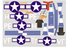 FMS 1400mm P51B ST130-Dallas darling Decal Set